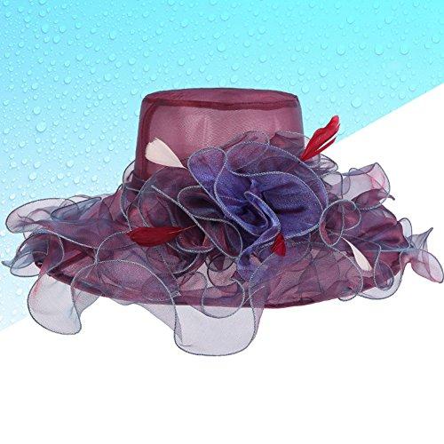 Gartenarbeit Handbuch (JIANFEI Sonnenhüte Sommer Strandhut Breite Visierkrempe Kappe Elegant Net Garn Sonnencreme Wellenförmige Kante Handbuch Blumen, 4 Farben ( Farbe : Weinrot ))