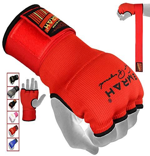 EMRAH PRO Training Boxing Gel Innere Handschuhe Handwickel MMA Faust Protector Bandages Mitts-X Boxing Hand Wraps (Rot, Klein) Innere Handschuhe