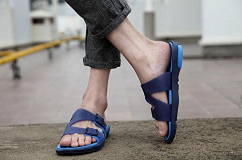GLTER Herren Open Toe Sandalen Breathable Slippers Casual Beach Schuhe Slip On Flip Flops Blue