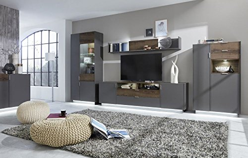 Wohnwand 'Sue', Wohnzimmerwand, 4-teilig, Terra grau, Monastary Oak, 395x200x43cm, Wohnzimmermöbel Größe mit Sockelbeleuchtung