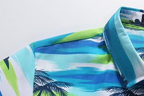 SSLR Chemise Hawaïenne Homme Tropical Cocotier Manche Courte Vacances Bleu