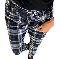 beautyjourney Pantalones de lápiz delgados con patrón de verificación, Pantalones casuales de las señoras Calzas de entrenamiento de celosía Pantalones casuales delgados