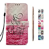 Kawaii-Shop Coque Samsung Galaxy A6 2018 PU Etui Housse Belle Phrase Magnétique Cuir Portefeuille avec TPU Silicone Gel Bumper Shell+Or Rose Stylo à Bille