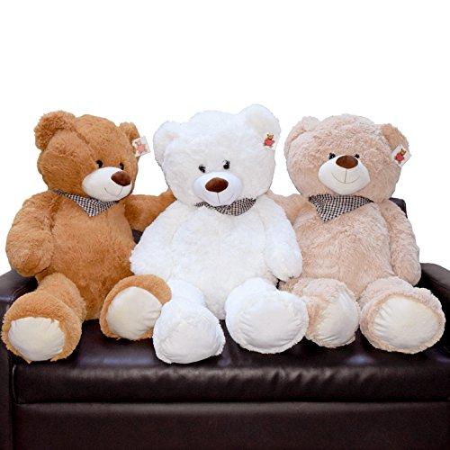 (047) Teddybär 100cm Kuscheltier Stofftier Bär Teddy Plüschbär Plüschteddy Plüsch Bear (Weiss) (Plüsch-bär Teddy)