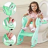 Töpfchentrainer Kinder Töpfchen Traniner Einstellbar Toilettensitz mit Leiter Töpfchen Sitz mit Treppe für 1-7 Kinder (Grün)