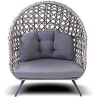 Q. BO sillón A 2plazas Sofá Sofá de Exterior Trenzado Wicker Gris baten