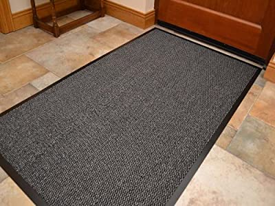 Machine Washable Grey Black Heavy Quality Non Slip Hard Wearing Barrier Mat. Available in 8 sizes produced by barrier mat - quick delivery from UK.