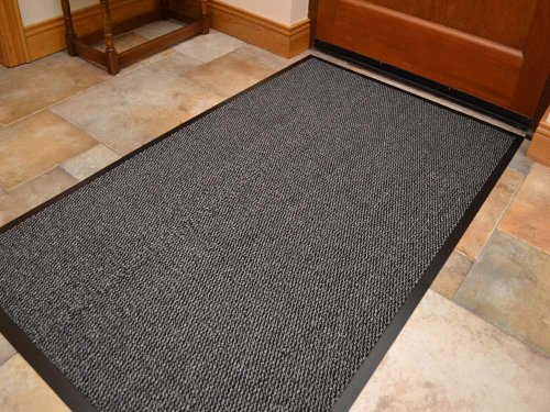 extra large big dark light grey hardwearing heavy duty black pvc edge pile top rubber barrier entrance door kitchen utility dust floor mats rugs 90cm x