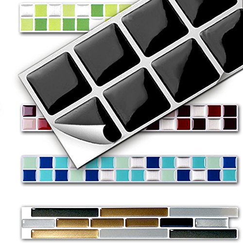 Grandora 7 Piezas Set 25,3 x 3,7 cm Etiqueta Adhesiva para baldosas Negro Design 13 I Autoadhesivo Mosaico...