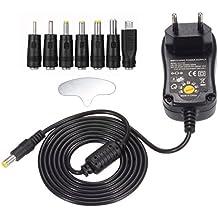 PChero 12W Universal AC/DC adaptador de conmutación regulado fuente de alimentación con 7seleccionables adaptador conectores, 1000mA max, 5ft cable de carga–para 3–12V hogar Electronics dispositivo