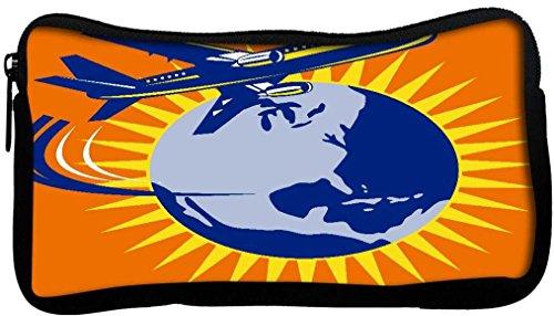 snoogg Commercial Jet avion avion Flying Globe en toile étudiant Stylo Crayon cas sac de maquillage Porte-monnaie Pochette utilitaire