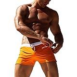 Herren Schwimmen Shorts Swim Trunks mit Reißverschluss Tasche Quick Dry Bademode Juleya Orange M
