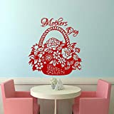 Mother's Day Gift Vinyl Wall Art Murals Basket Flowers Heart Wall Sticker Decoration Living Room Bedroom Wall De  47cmx43cm