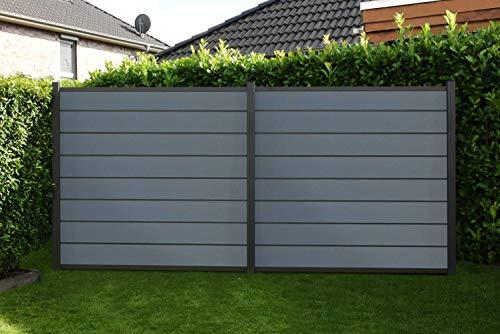 Ligna-Gard WPC Steckzaun Juist, steingrau/anthrazit ca. 180x180 cm - EXTRA STABIL