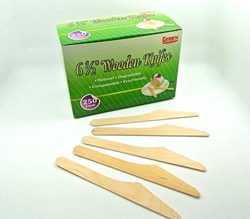 Gmark GM1008 Holzmesser, 250 Karat, 15,9 cm Länge, Papierbox, Verpackung - kein Kunststoff, umweltfreundlich, Einweg-Besteck, biologisch abbaubar, aus Holz, Grün, 250 Stück