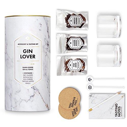 CKB Ltd® Gin amante–& Gin juego para degustación–Juego de accesorios incluye 2G & T gafas 2agitadores 2posavasos portátil lápiz y bayas Botanicals Home Made Gin Kit para hacer que tu propio Gin y Tonic Set de regalo