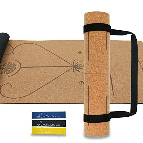 gamatte aus Kork und Naturkautschuk mit Ausrichtungsmarkierungssystem rutschfest Schadstoffrei-183x61cm, 5mm mit Tragegurt und Bonuswiderstand Schleifenbänder Set für Yoga Pilates ()