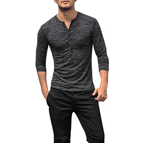 BHYDRY Männer Herbst Casual Langarm Henry Kragen Knopf Slim T-Shirt Top Bluse Classic Satin Mantel