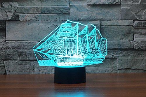 Weihnachten Geschenke 3D Leuchtet 7 bunte Farbe ändern Nachtlicht für Kinder und Jugendliche großen Schiff - 5