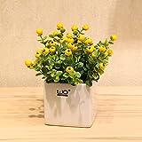 Emulation Blume künstliche Blumen eibe Blaubeeren Beeren mit Keramik Vasen kit home Einrichtung mit geblümten Kreativität, Keramik Waschbecken + gelbe Beeren