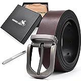 Cinturon Hombre Cuero Negro Marrón Ancho Reversible Casual De Negocios Metal De Hebilla Cinturón Trabajo Hombre 135cm Largo