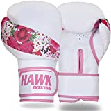 Hawk Boxing Leather Boxing Gloves Ladies Women Pink Flowers GEL Fight Punch Bag MMA Muay thai Kick UFC