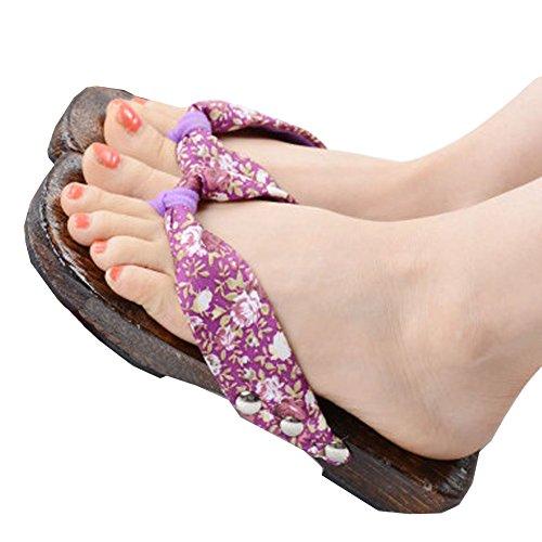 Elegant Und StylishJapanese Blumendruck Slip-On Flip Flop Geta Clogs Hausschuhe Kimono Yukata Sommer Geschenk, N (Halloween-fleece-stoff)