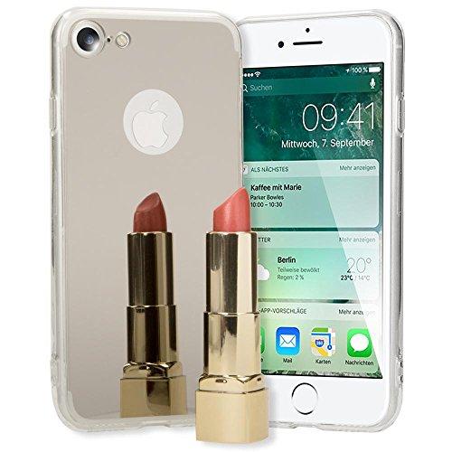 iPhone 8 / 7 Spiegel Hülle Handyhülle von NICA, Ultra-Slim Mirror Case TPU Silikon Cover, Dünnes Backcover Schutz verspiegelt, Handy-Tasche Bumper Phone Etui für Apple iPhone-7 / 8, Farbe:Grau Silber