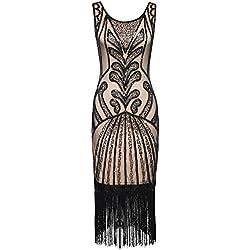 PrettyGuide Mujeres 1920s Vintage Rosario Art Deco Inspirado Vestido Cocktail Flapper XL Beige Negro