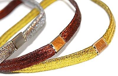 HAARSTYLING-Haarbänder-SET für Silvester -> 3 x Breite elastische GLITZER Stirnbänder breit (SILBER + GOLD + BRONZE) + 10 kleine gewellte Haarnadeln + 10 große gewellte Haarnadeln -> 3-er Pack