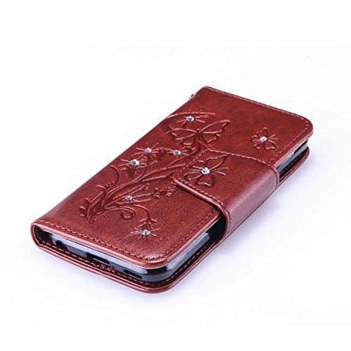 Custodia iPhone iPod Touch 5, ISAKEN Custodia iPod Touch 5, iPod Touch 6 Flip Cover, Elegante borsa Farfalle Design Custodia in Pelle Protettiva Portafoglio Case Cover per iPod Touch 5/6G con Strap /  Diamnate farfalle : marrone