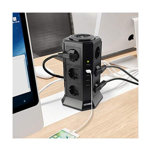 Multipresa-Verticale-HOVNEE-Torretta-Multipresa-Ciabatta-12-Prese-Con-5-Slot-USB-2500W-10A-656ft-Cavo-per-Smart-Phone-Tablet-Laptop-Fotocamere-Digitali
