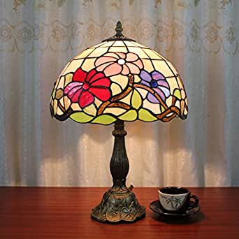 gweat 12 pouces rouge rose violet tricolor fleur pastoral vintage tiffany table lamp lampe de. Black Bedroom Furniture Sets. Home Design Ideas