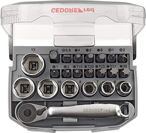 GEDORE red Bit-Knarren-Satz 1/4″ mit Bit-Fix-Adapter, umschaltbar, compact 23-teilig