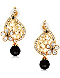 Spargz Floral Black Alloy AD Stone Drop Earring For Women AIER 553