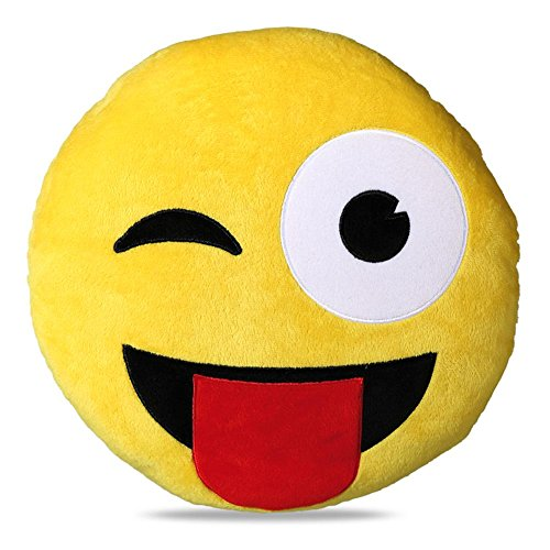 "Plüsch-Kissen ""Tongue Emotion"" Smiley Emoji Emoticon 30 cm"
