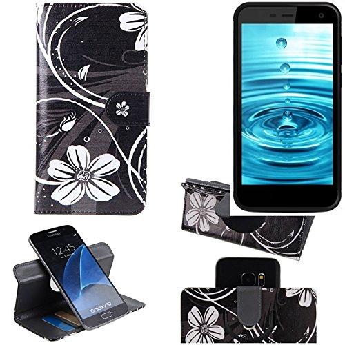 K-S-Trade® Schutzhülle Für Energizer H500S Hülle 360° Wallet Case Schutz Hülle ''Flowers'' Smartphone Flip Cover Flipstyle Tasche Handyhülle Schwarz-weiß 1x