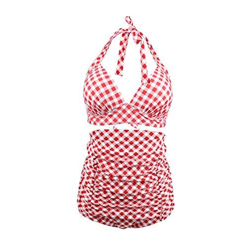 ERWAA Damen Bikini Set Badeanzug Bademode Bauchweg Vintage Hohe Taillen Neckholder Karierter Schwimmanzug, Schwarz Rot, - 3XL(EU42/44)