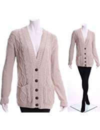Womens New Long Chunky Cable Knitted Button Ladies Grandad Long Sleeve Cardigan 8-14