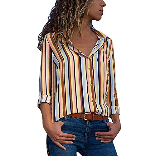 MRULIC Damen Shirt Tie-Bow Neck Striped Langarm Spleiß Bluse Gestreift Damen Tragen Tops Pullover (EU-42/CN-XL, W-Gelb) -