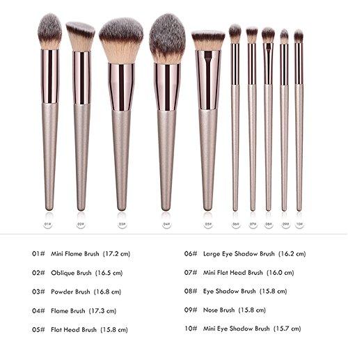 Lubier 10Pcs Pincel De Maquillaje Profesional De Madera Brochas Para Maquillaje Portátil Cepillo Facial Foundation Brush Blush Concealers Kit Set