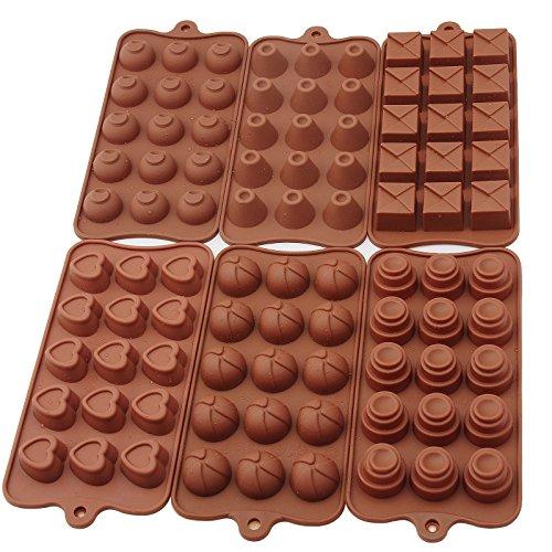 Baytter Silikon Pralinenformen SET 6 tlg., Pralinenform Herzform Hohlkörperform Silikonbackform Backform für Muffin Schokolade 21,5 x 11 cm, von - 60° C bis + 260° C temperaturbeständig