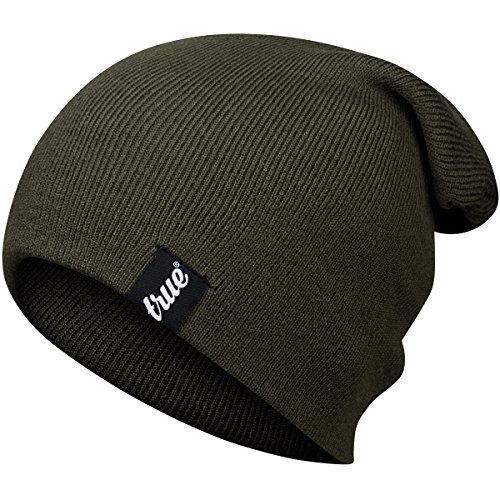 TRUE VISION Mens Beanie Hat - Army Green - Slouch or Turn Cuff for  Traditional Beanie 79fe29679520
