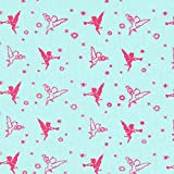 Fabulous Fabrics Frottee Jersey Stoff Engelchen – türkis/Pink — Meterware ab 0,5m — Oeko-Tex Standard 100 — Zum Nähen von Kinderbekleidung, Tops und Shirts und Sweatshirts