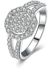 Beydodo Sterling Silber Ringe Verlobung Solitärring Rund Brillant Weiß  Zirkonia Freundschaft Partnerringe Trauring Silber 9634692f6a