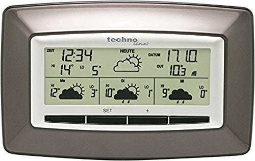 Technoline WD 4005 satellitengestützte Wetterstation mit zuverlässiger Wettervorhersage für 4 Tage, braun, 2,7 x 17,3 x 10,9 cm