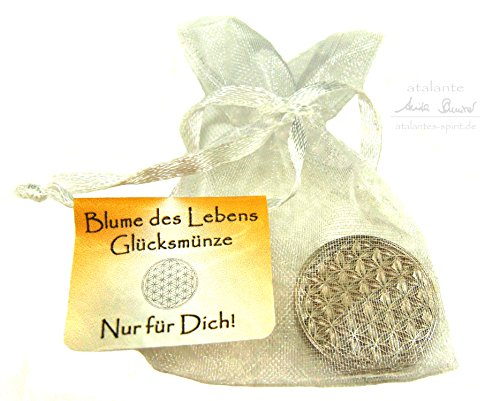 EnerChrom   Blume-des-Lebens-Glücksmünzen als Talisman   10 Stück   Lebensblume-Glücksbringer   Farbe Silber   Nachfüller für Schatzkiste