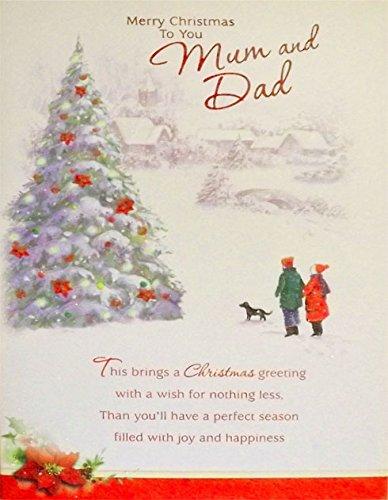 """Grandi dimensioni rosso """"Merry Christmas To You Mum e Dad"""" Biglietto d' auguri natalizi, con Glitter e motivo coppia con un cane Walking attraverso un villaggio scena (23x 15cm)"""