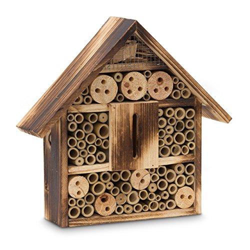 #Relaxdays Insektenhotel gebrannt HBT 28,5 x 30 x 9 cm Bienenhotel aus Naturmaterialien als Unterschlupf für Käfer, Bienen und andere Insekten Insektenhaus aus Holz mit Spitzdach, natur#