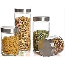 asentechuk® 1pcs redondo cristal transparente botella de depósito de almacenamiento contenedor cierre tuercas granos tarro con tapa, vidrio, Transparente, 800 ml